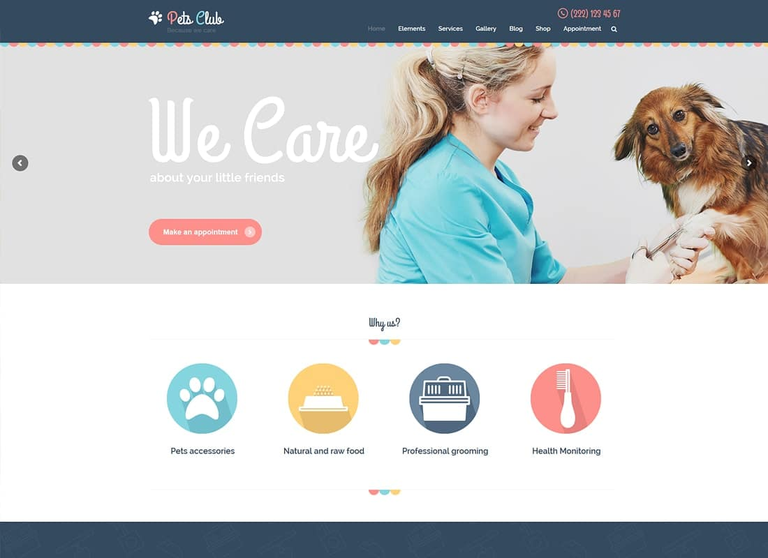 Pets Club - Pet Shop & Breeding Veterinary WordPress Theme Website Template