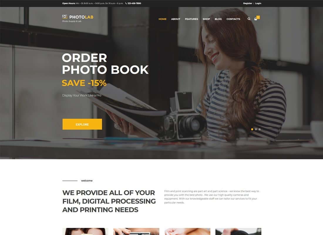 PhotoLab | A Trendy Photo Company & Photo Supply Store WordPress Theme Website Template