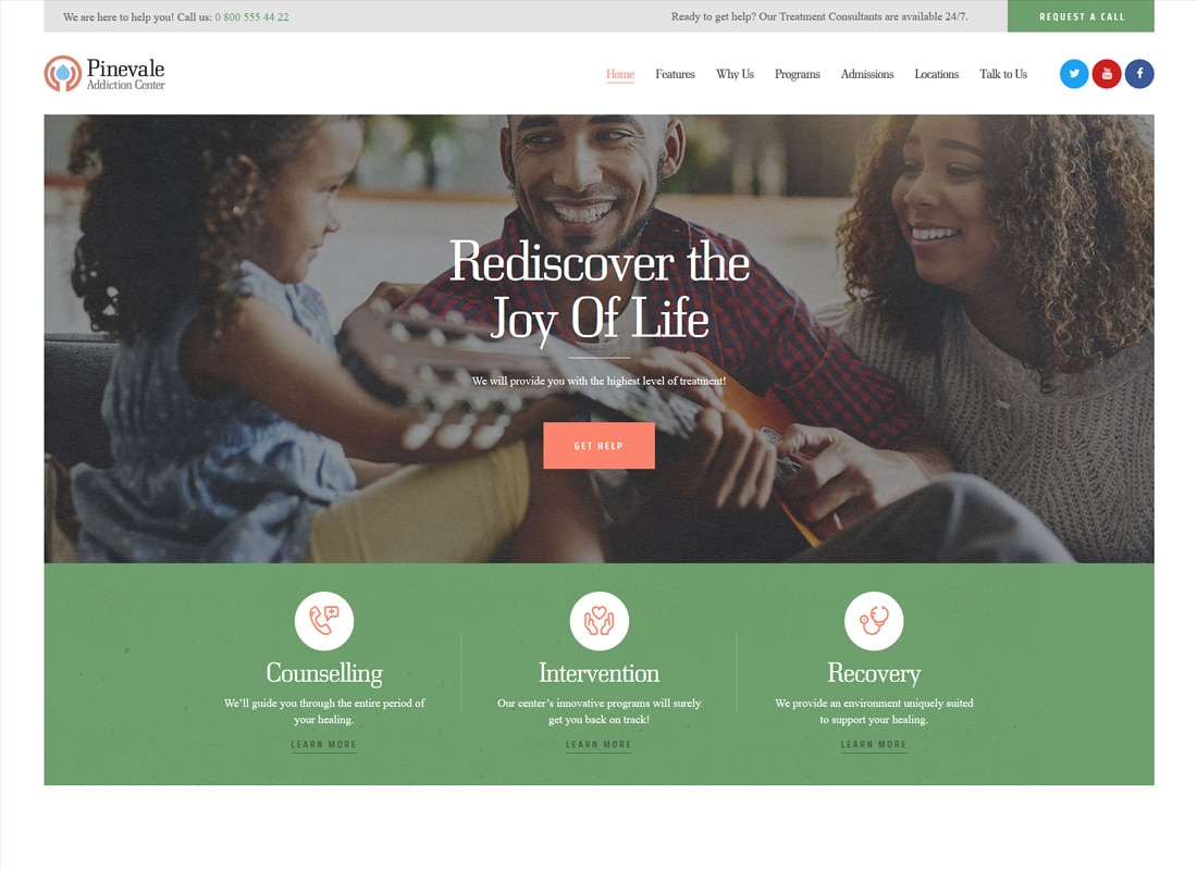 Pinevale | Addiction Recovery and Rehabilitation Center WordPress Theme   Website Template