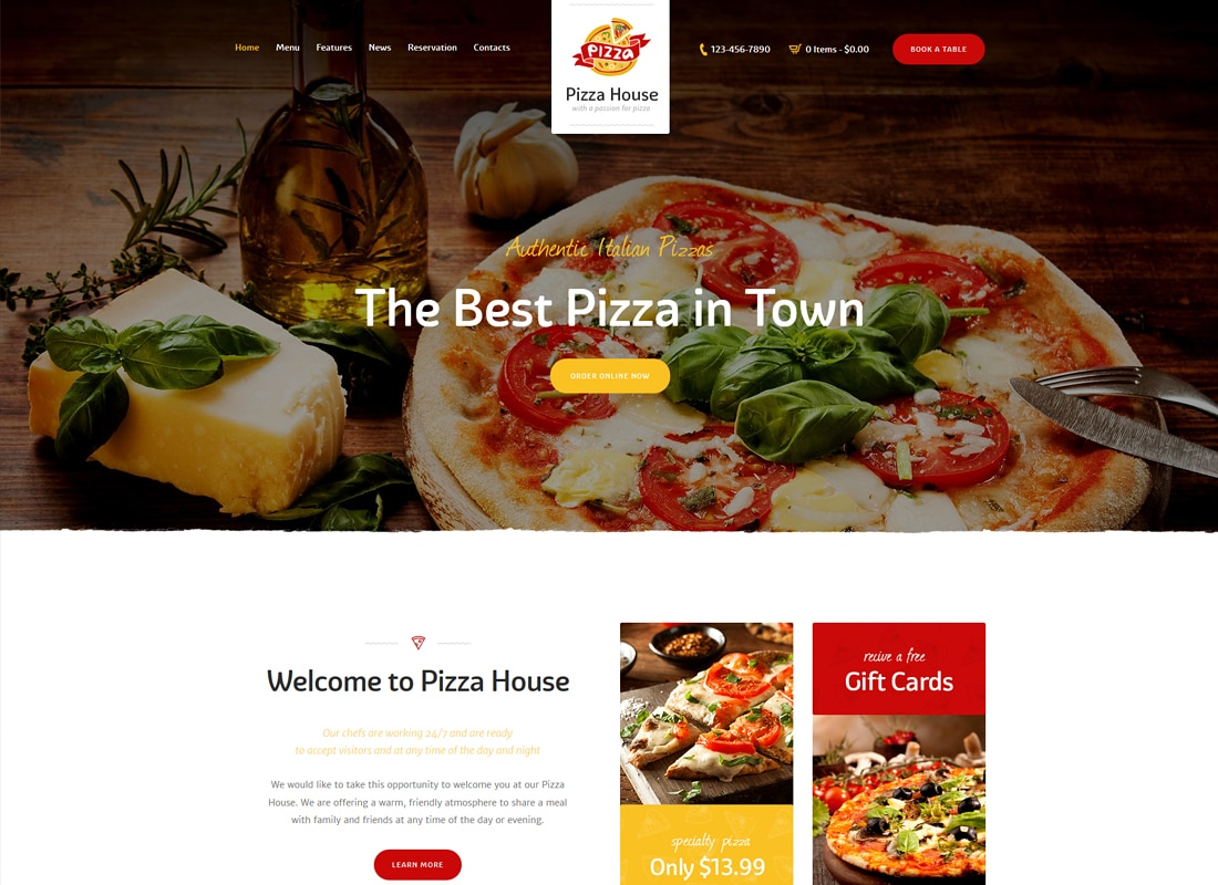 Pizza House - Restaurant / Cafe / Bistro WordPress Theme   Website Template