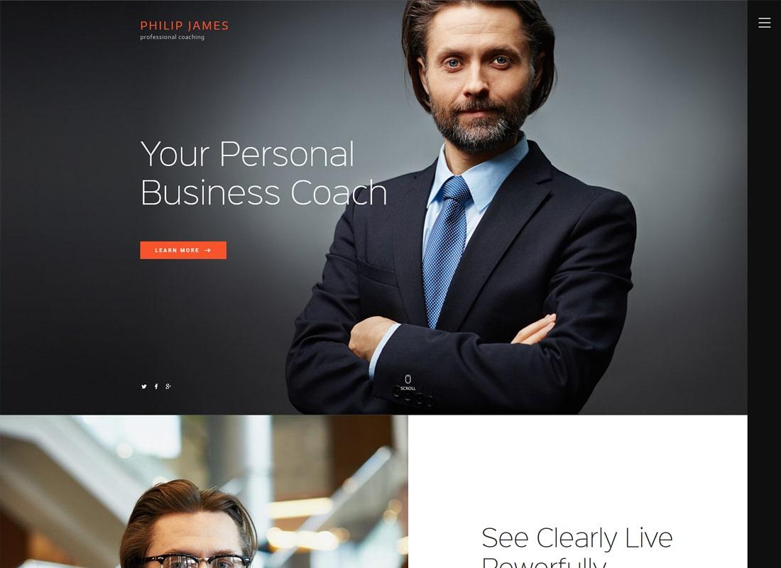 PJ   Life & Business Coaching WordPress Theme Website Template