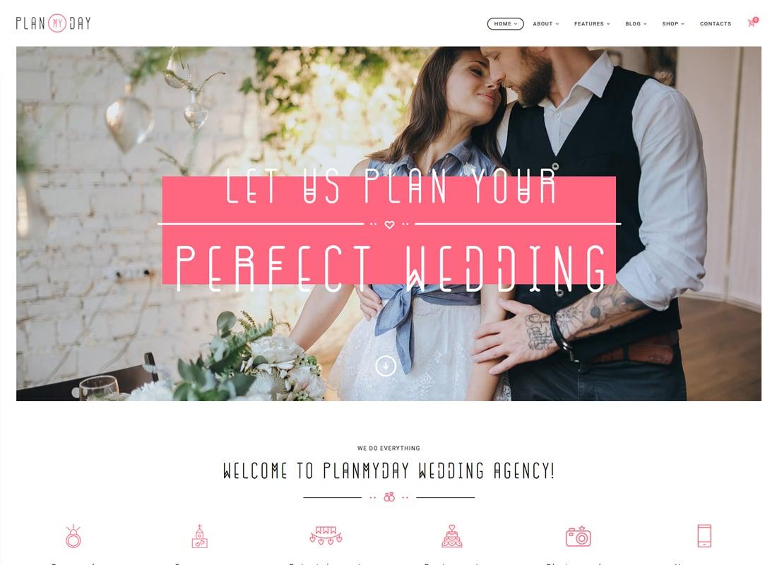 Plan My Day - Wedding / Event Planning Agency WordPress Theme Website Template