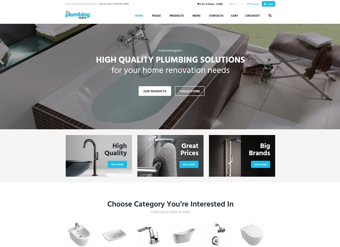 Plumbing Store | Plumbing and Building Parts, Tools & Accessories Store WordPress Theme Website Template