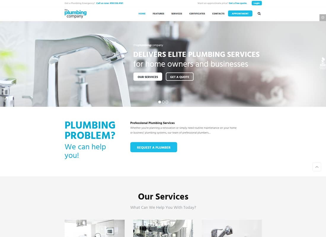 Plumbing | Repair, Building & Construction WordPress Theme Website Template