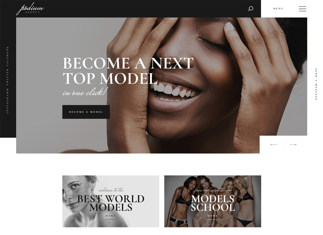Podium | Model Agency WordPress Theme Website Template