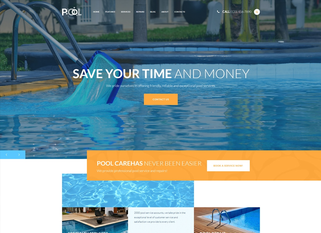Pool Maintenance Services WordPress Theme Website Template