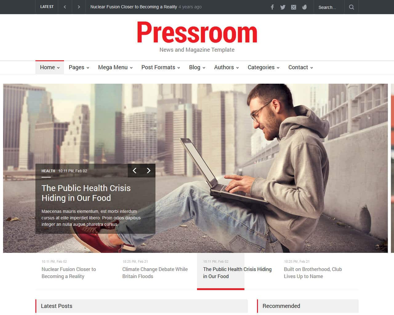 Pressroom Website Template