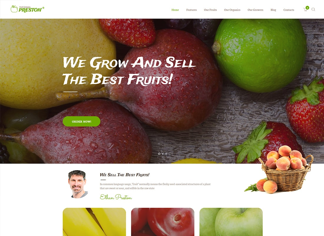 Preston | Fruit Company & Organic Farming WordPress Theme Website Template