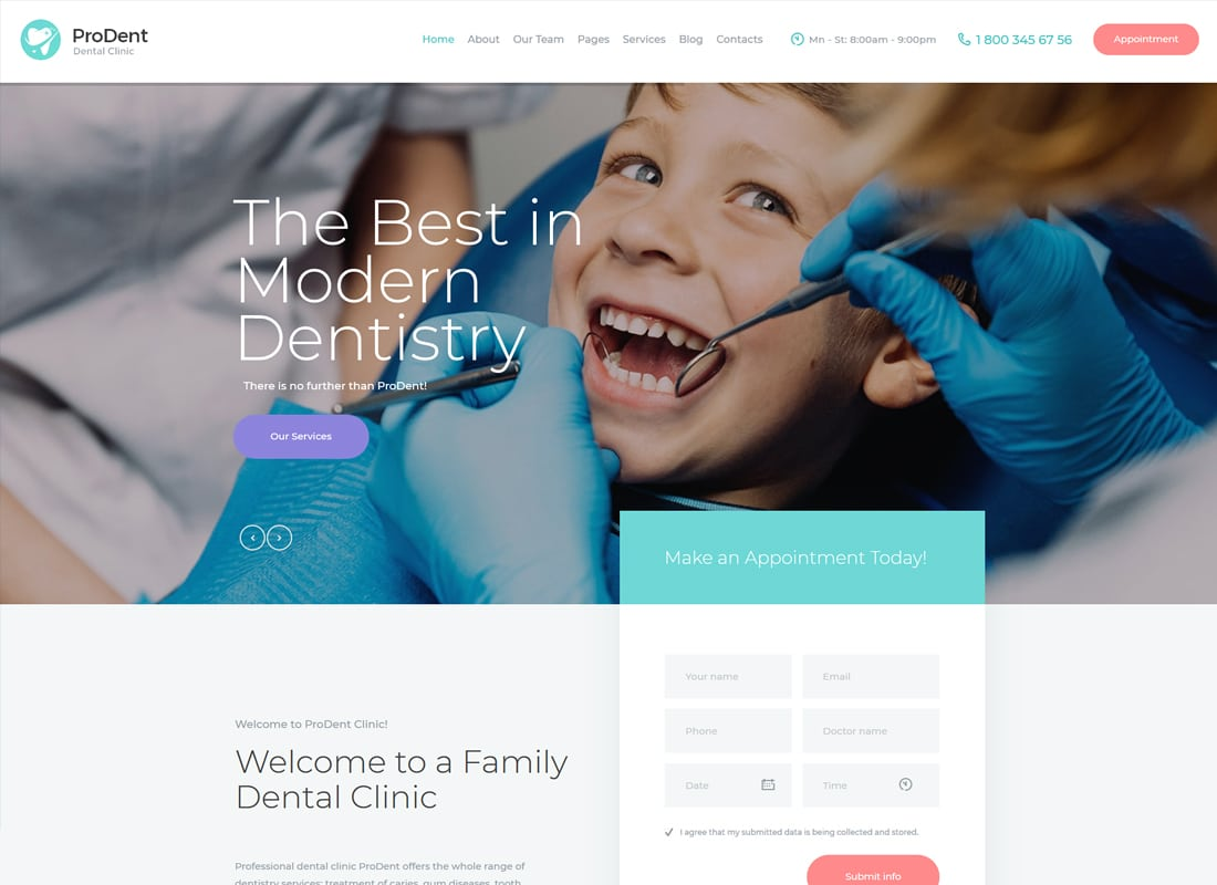 ProDent | Dental Clinic & Healthcare WordPress Theme Website Template