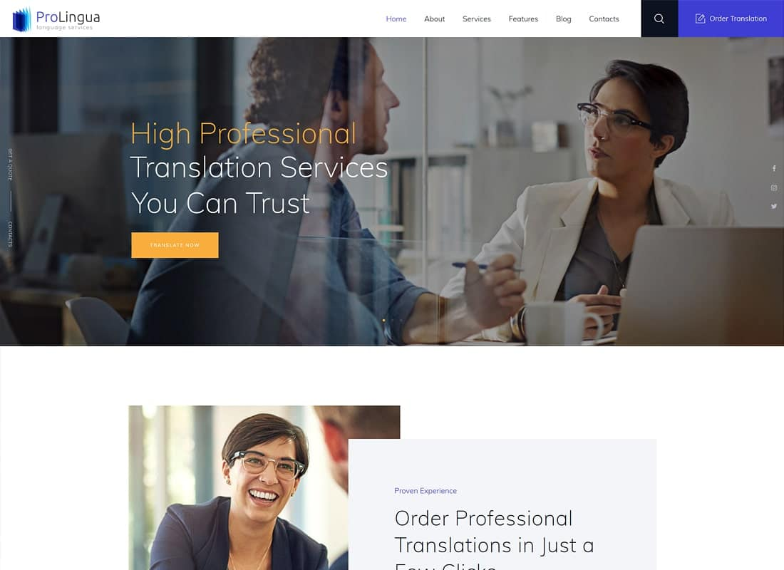 ProLingua | Translation Services WordPress Theme Website Template