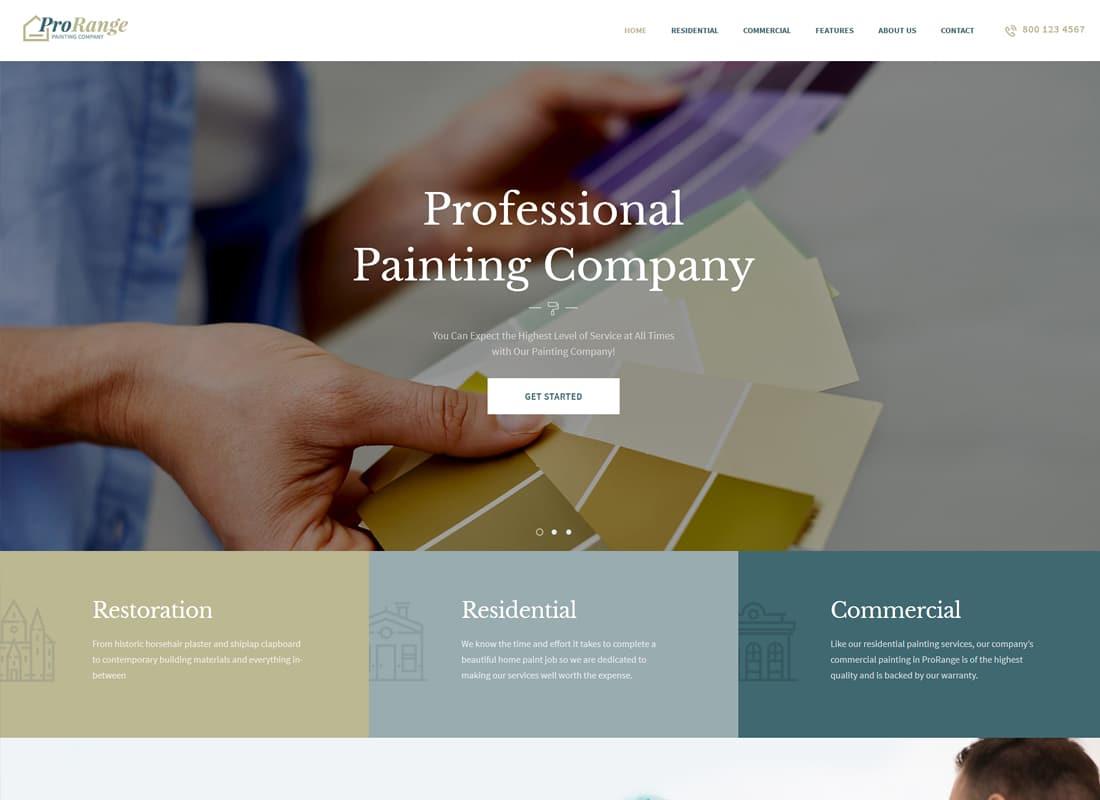 ProRange | Painting Company WordPress Theme Website Template