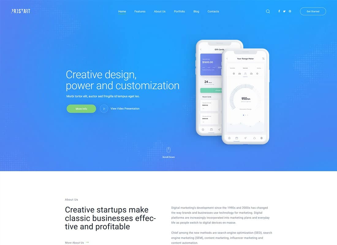 ProStart | Startup & Corporate WordPress Theme Website Template