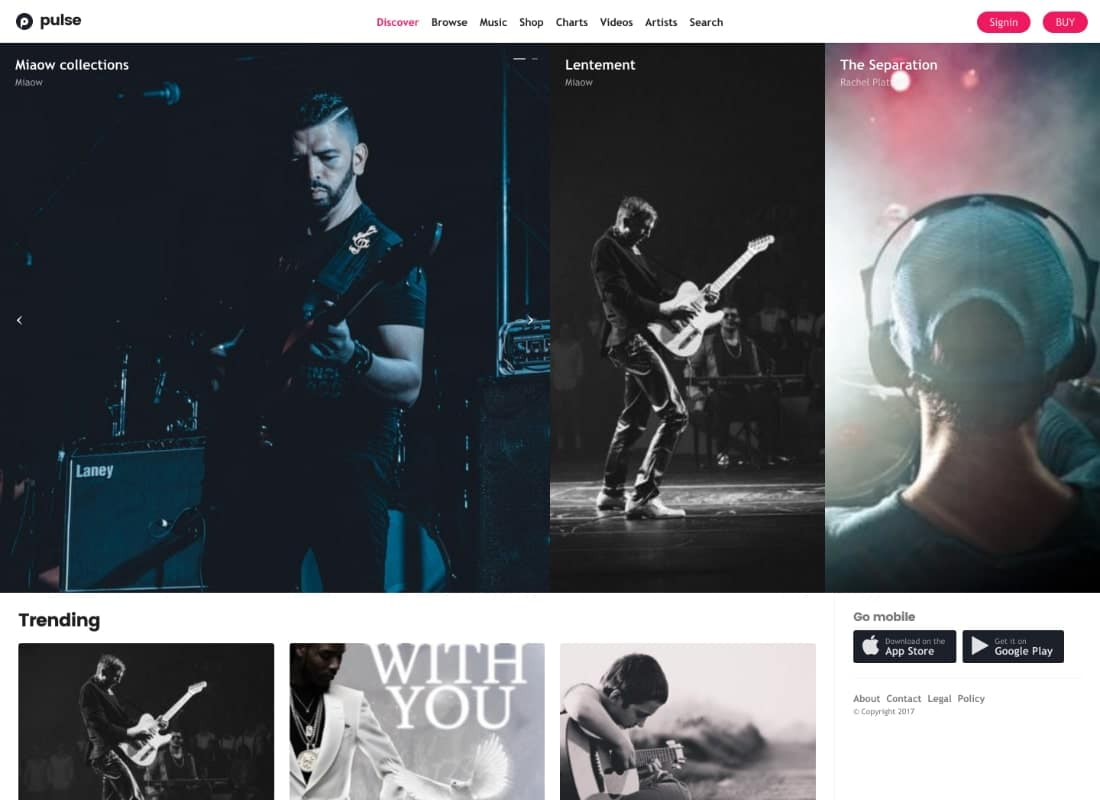 Pulse - Music, Audio, Radio WordPress Theme Website Template