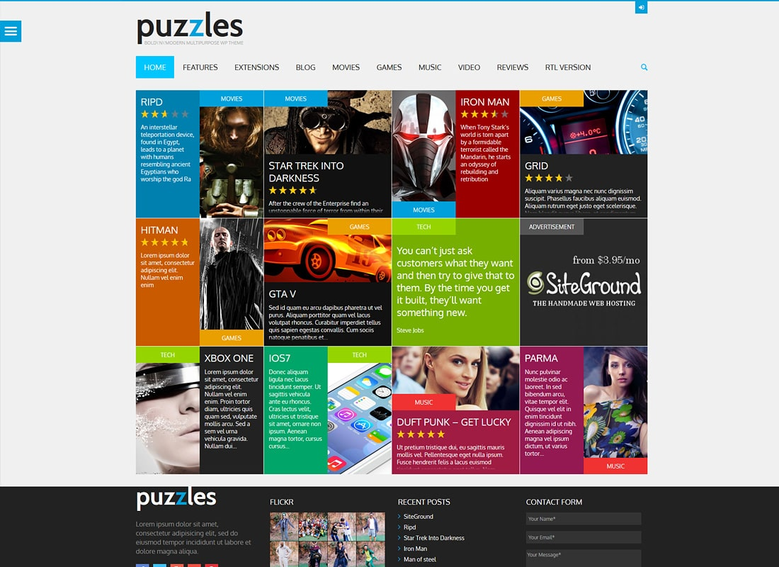 Puzzles   WP Magazine / Review with Store WordPress Theme + RTL Website Template