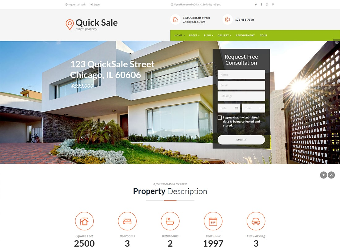 Quick Sale | Single Property Real Estate WordPress Theme Website Template
