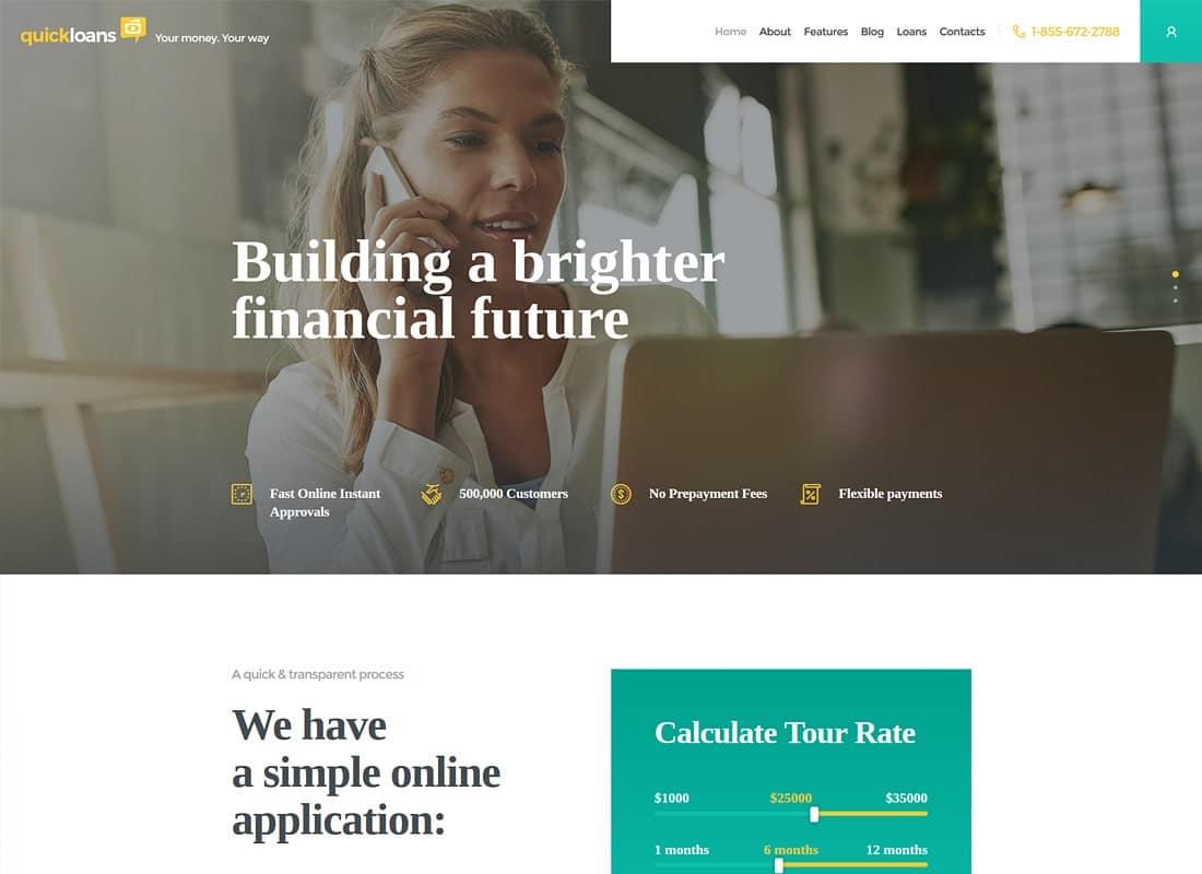 QuickLoans | Loan Company & Banking Business WordPress Theme Website Template