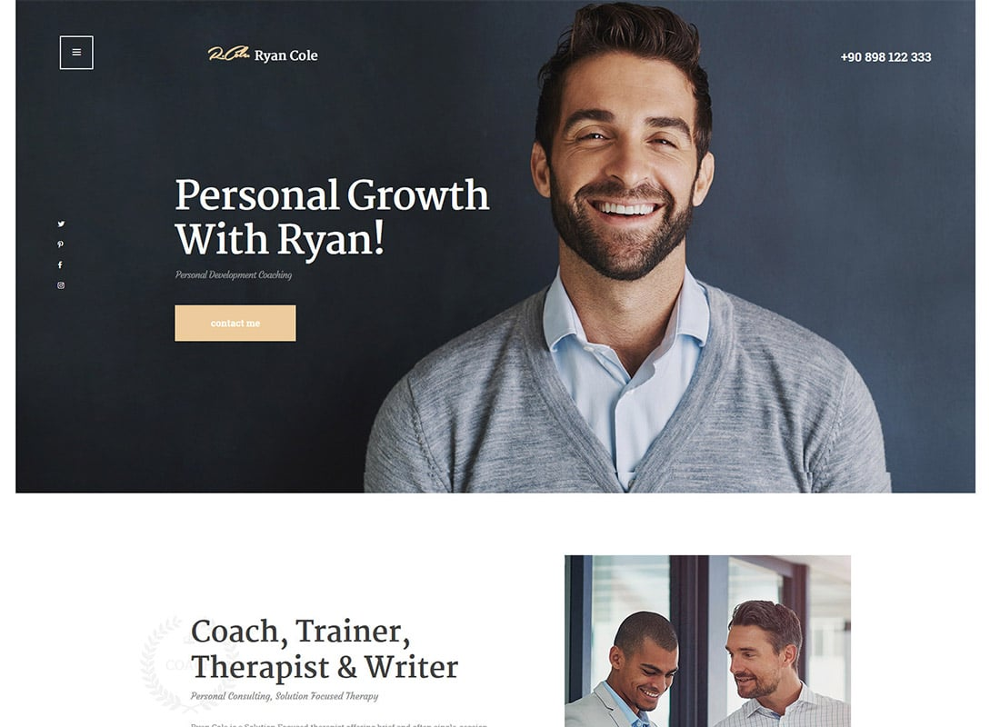 R.Cole   Life & Business Coaching WordPress Theme Website Template