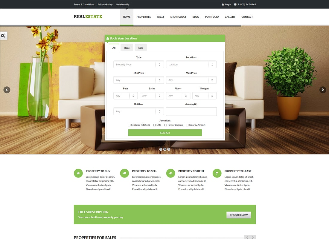 Real Estate - Responsive Real Estate Theme Website Template