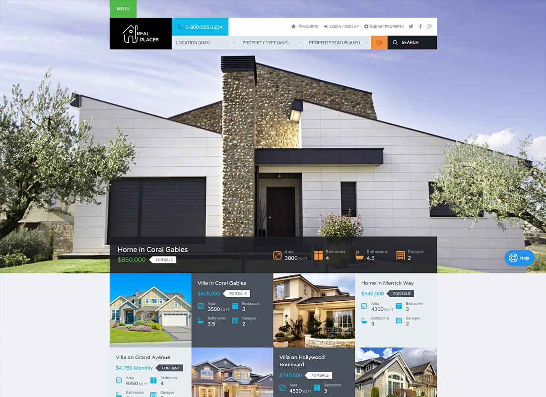 Real Places - Responsive WordPress Real Estate Theme  Website Template