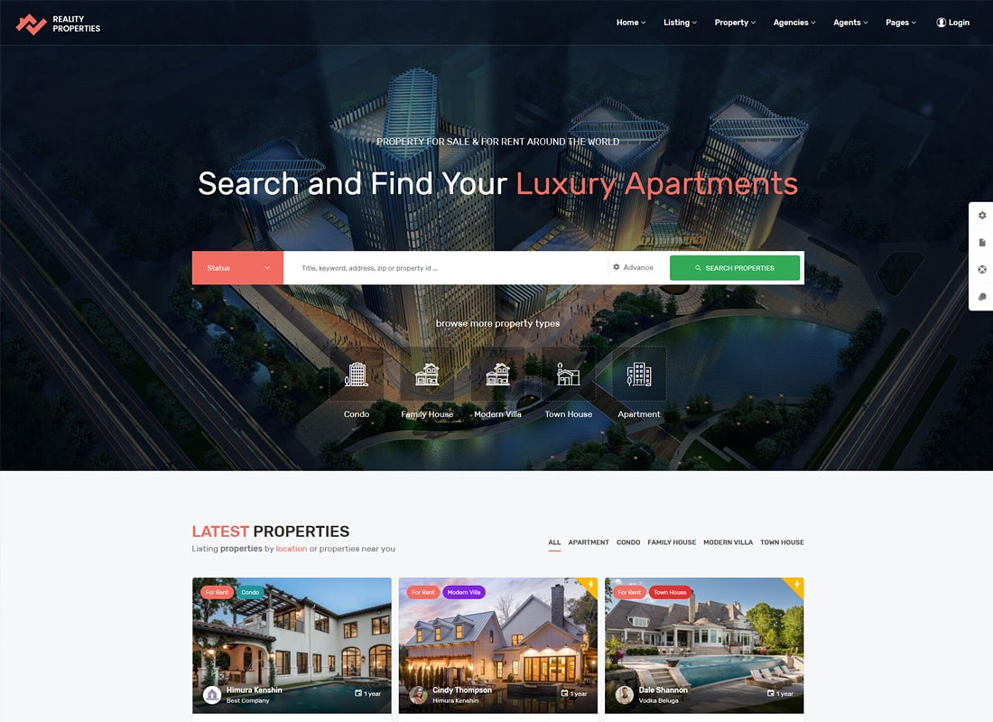 Reality | Real Estate WordPress Theme Website Template