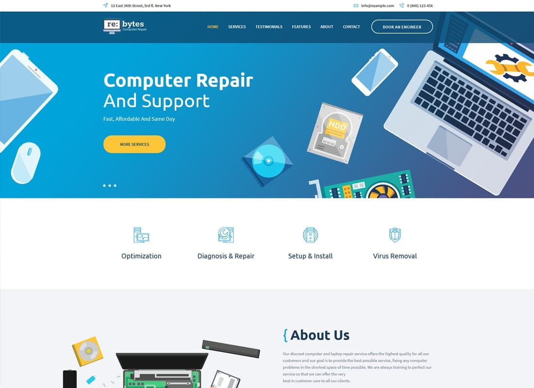 Re:bytes | Computer Repair Service WordPress Theme Website Template