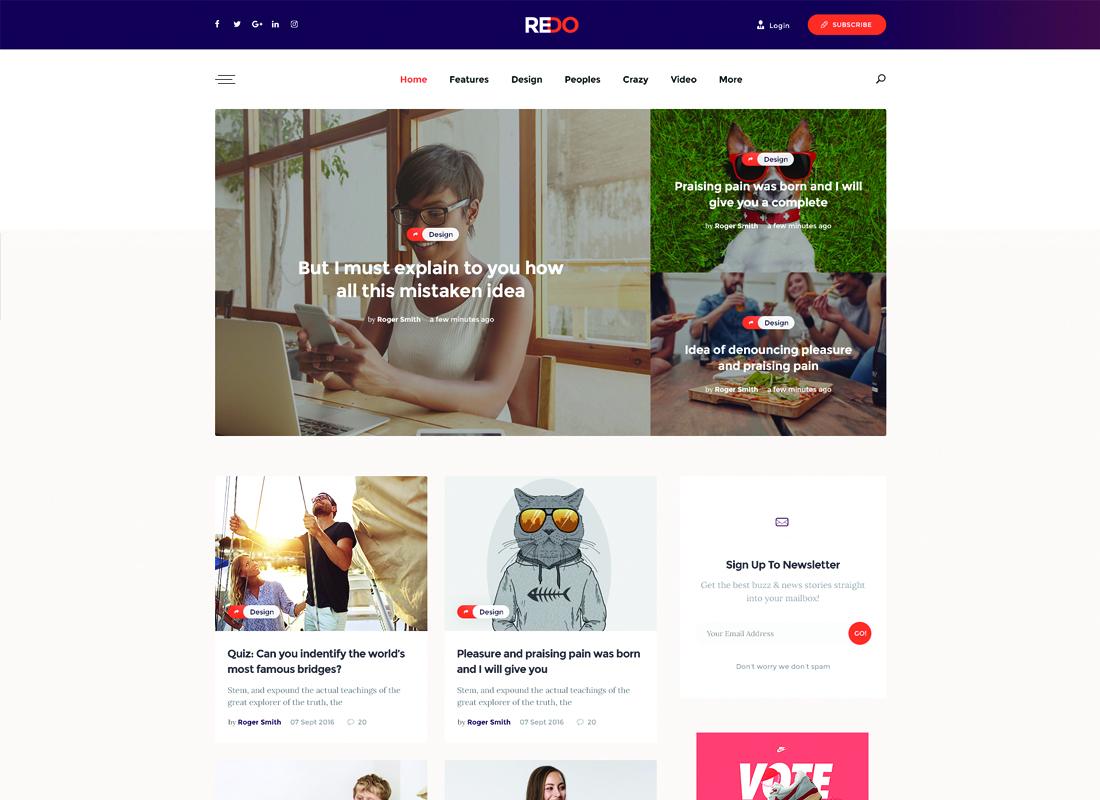 Redo | A Personal Blog, Magazine & Review Portal WordPress Theme Website Template