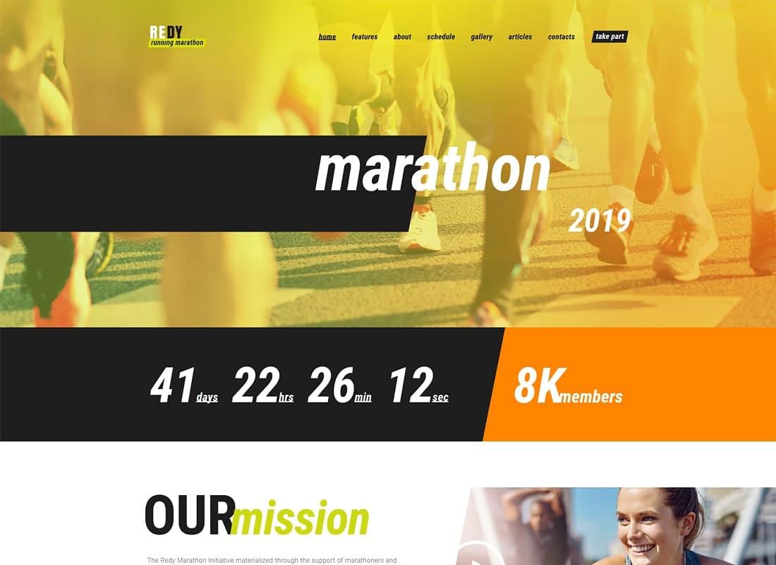Redy | Marathon & Sports WordPress Theme Website Template