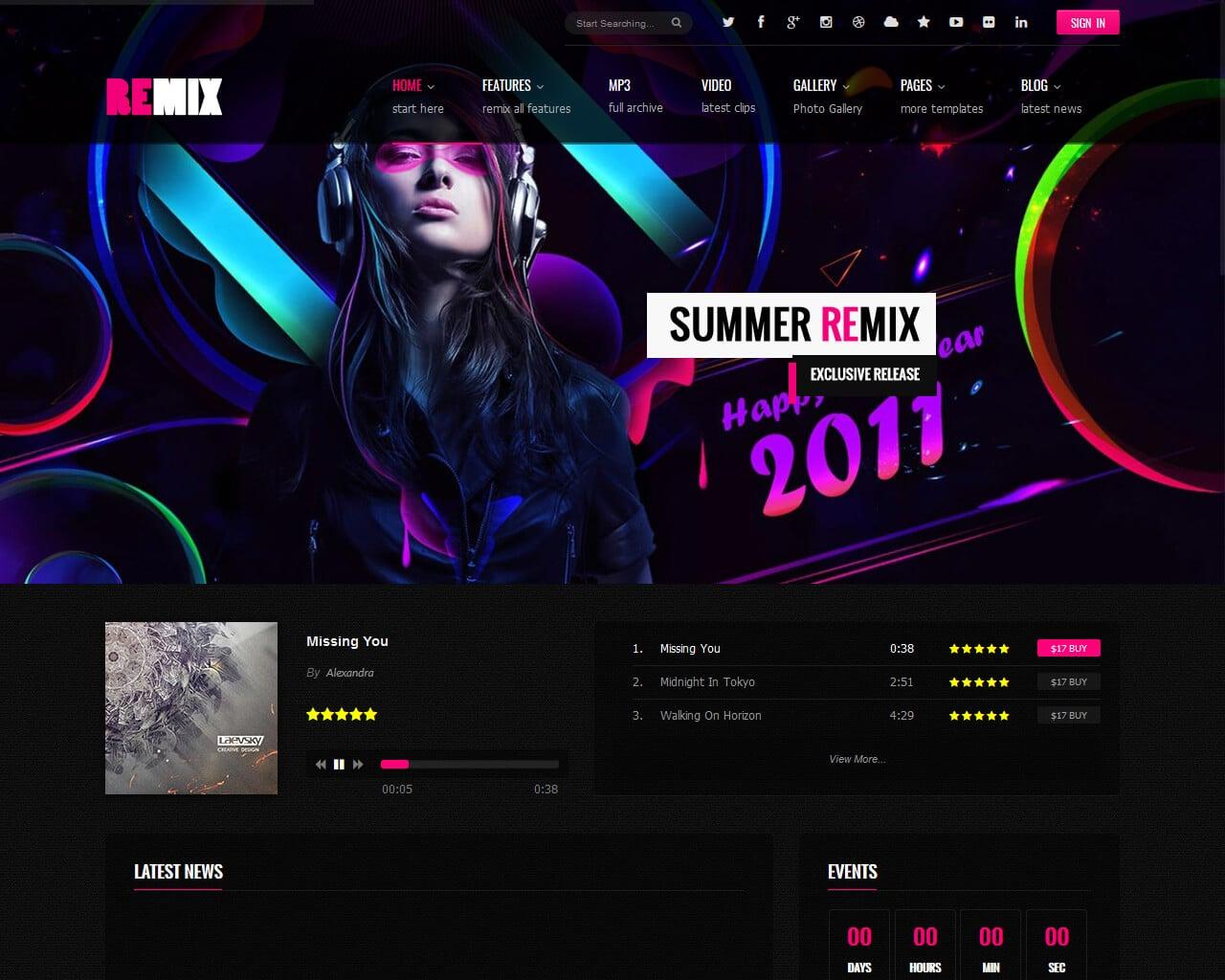Remix Music Website Template