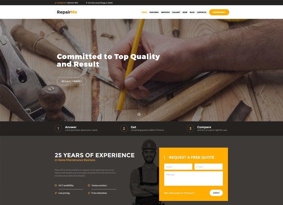 RepairMe | A Vibrant Construction & Renovation WordPress Theme Website Template