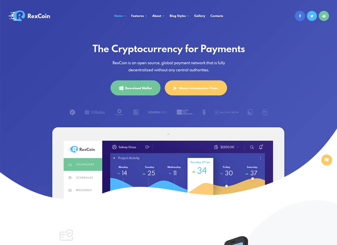 RexCoin | A Multi-Purpose Cryptocurrency & Coin ICO WordPress Theme   Website Template