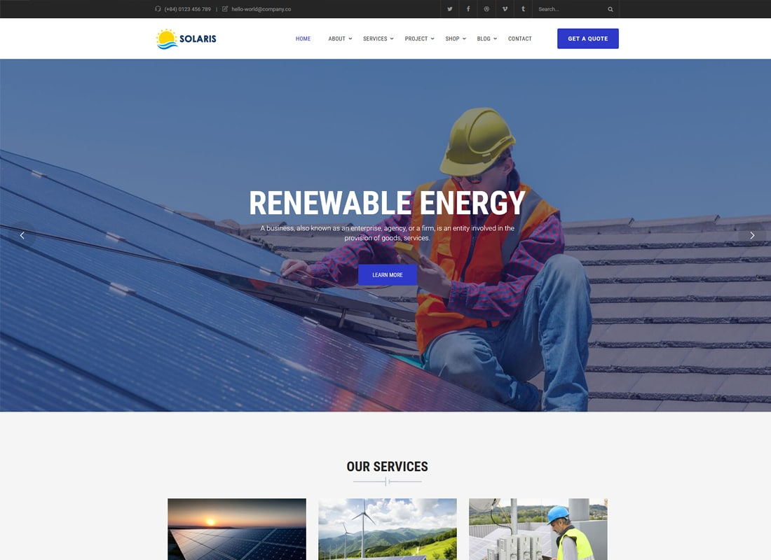 Solaris - Solar Environmental Energy WordPress Theme   Website Template