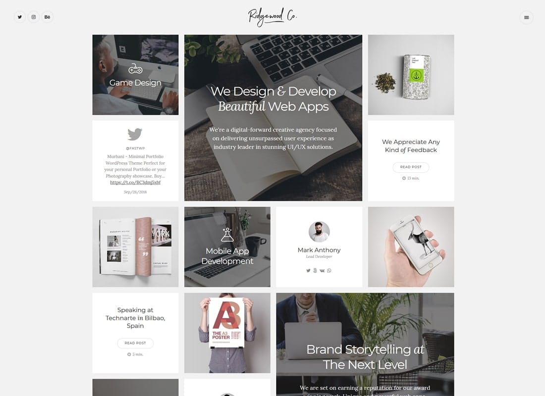 Ridgewood | Contemporary & Creative Portfolio WordPress Theme Website Template