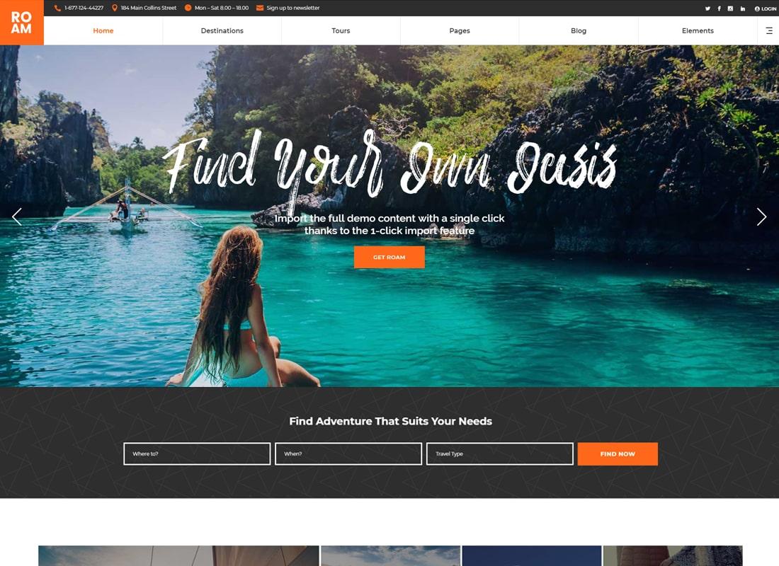 Roam - Travel and Tourism WordPress Theme Website Template