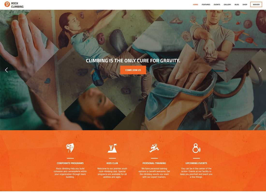 Rock & Wall Climbing | Sport Club WordPress Theme Website Template