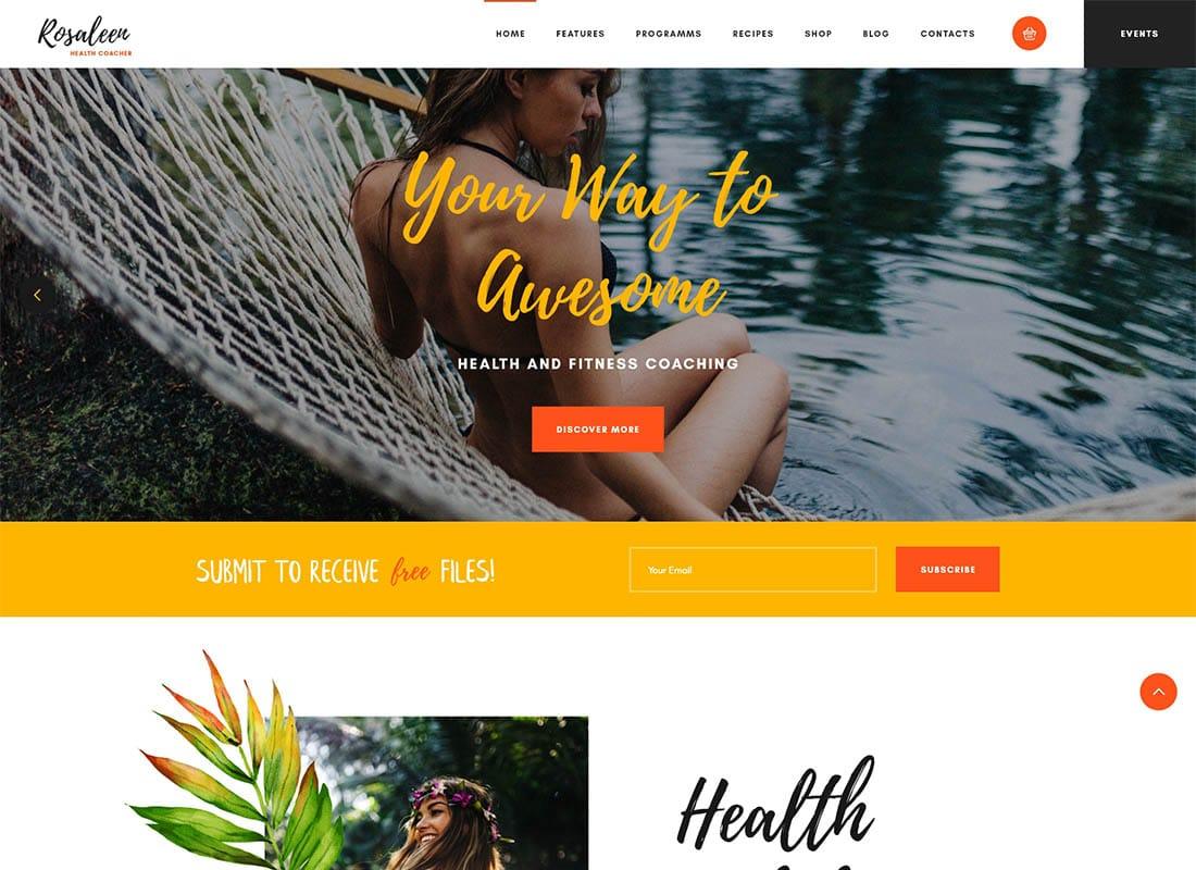 Rosaleen - Health Coach, Speaker & Motivation WordPress Theme Website Template