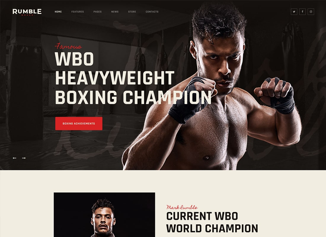Rumble | Boxing & Mixed Martial Arts WordPress Theme Website Template