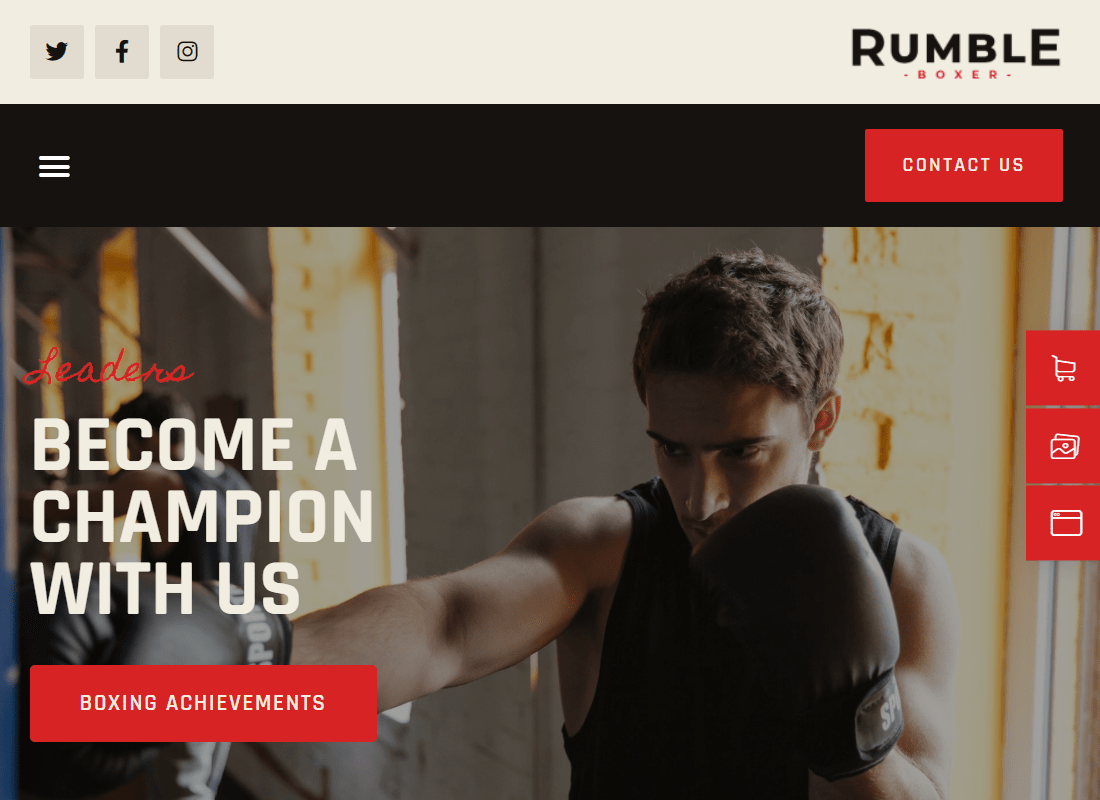 Rumble - Boxing, MMA & Fighting Elementor Template Kit Website Template