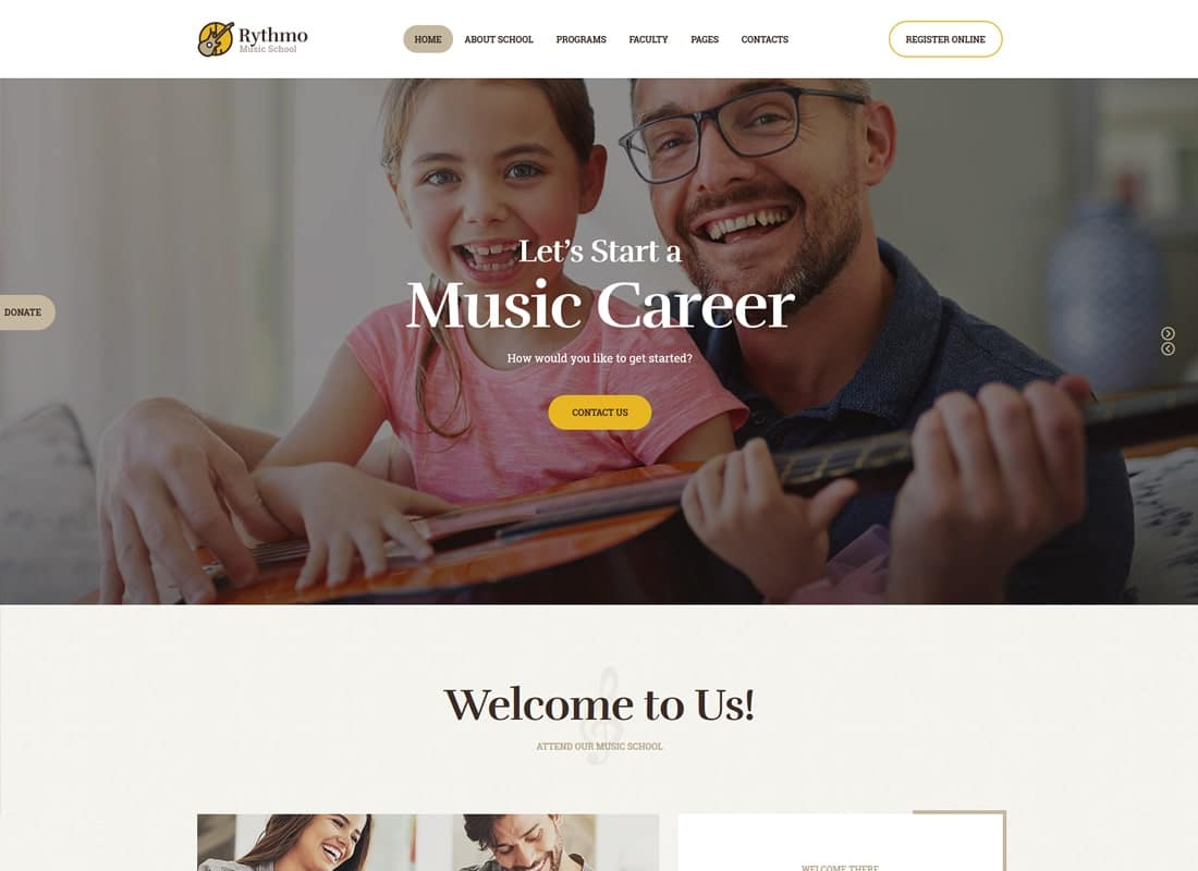 Rythmo | Music School WordPress Theme Website Template
