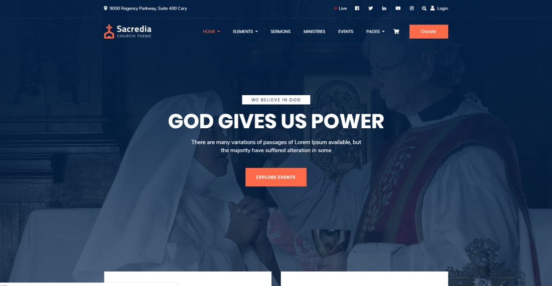 Sacredia | Church and Non-profit WordPress Theme Website Template