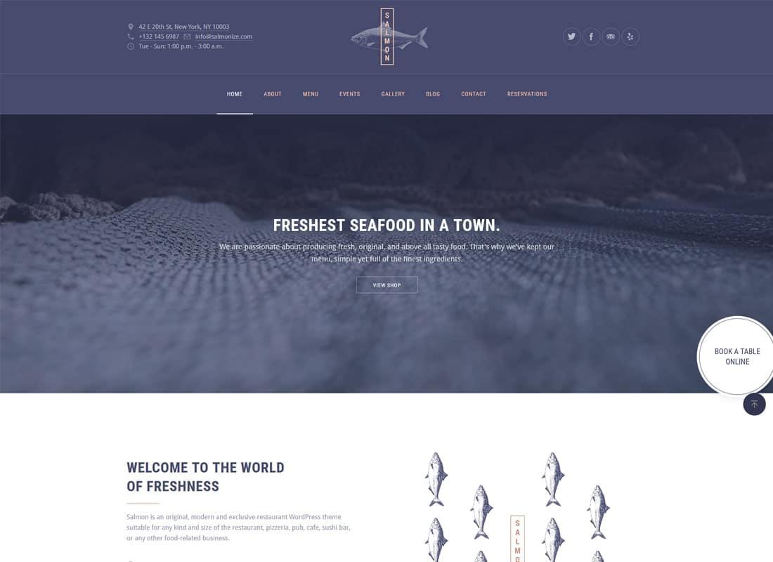Salmon | Restaurant WordPress Theme Website Template