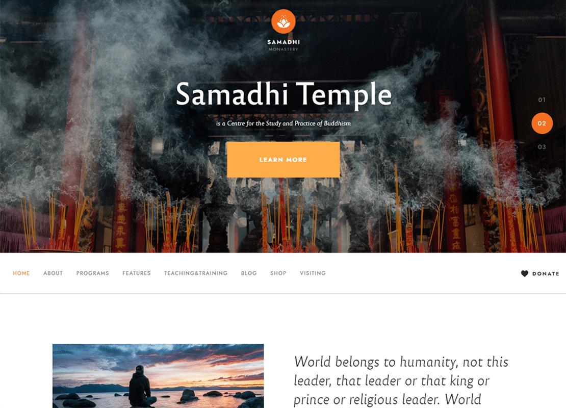 Samadhi | Oriental Buddhist Temple WordPress Theme Website Template