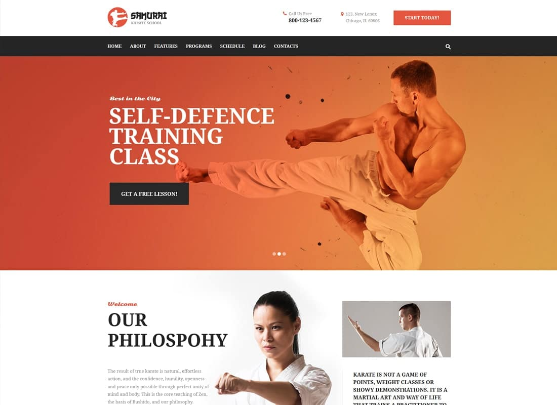 Samurai | Karate School and Fitness Center WordPress Theme Website Template