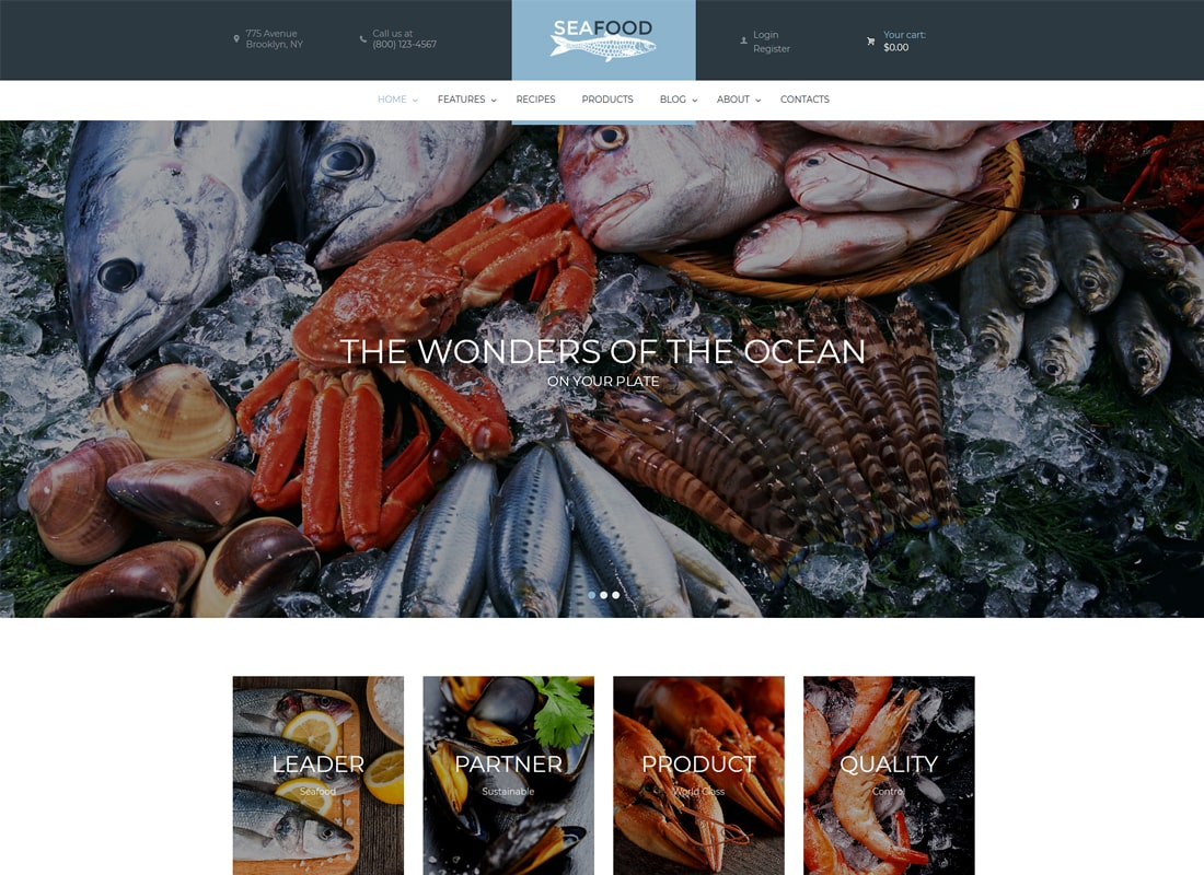 Seafood Company & Fish Restaurant WordPress Theme Website Template