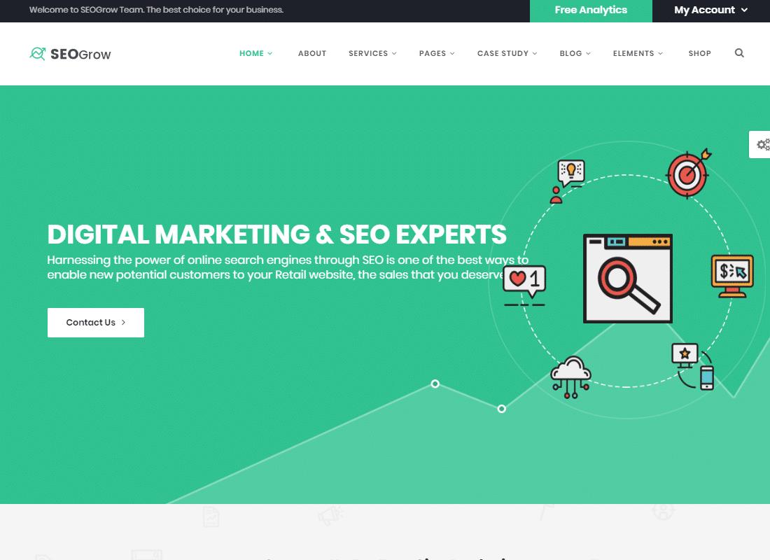 Marketing & SEO | SEO Grow Marketing  Website Template