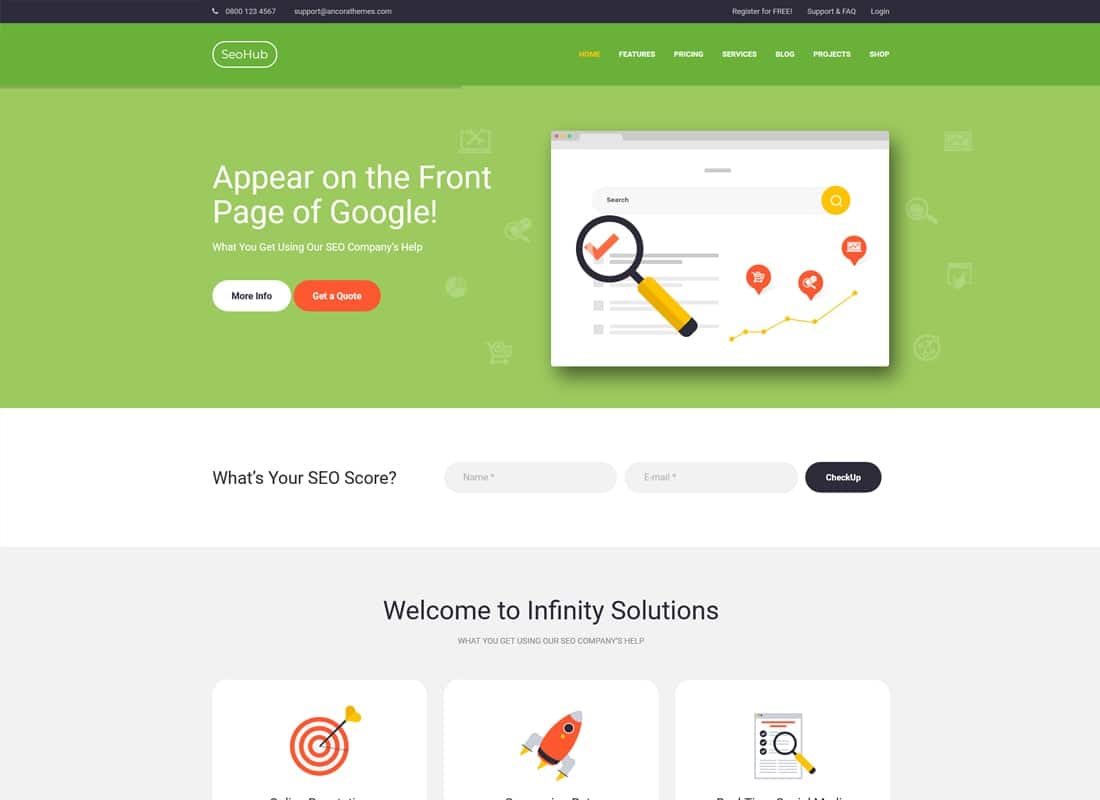 SEOHub - A Colorful SEO & Marketing WordPress Theme Website Template