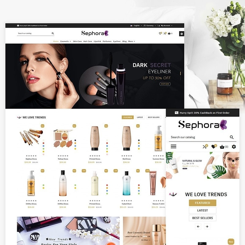 Sephora Cosmetic Store Template Website Template