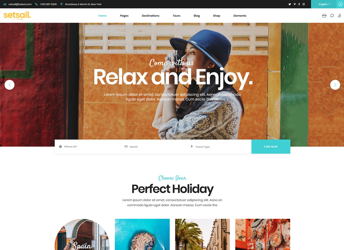 SetSail - Travel Agency Theme  Website Template