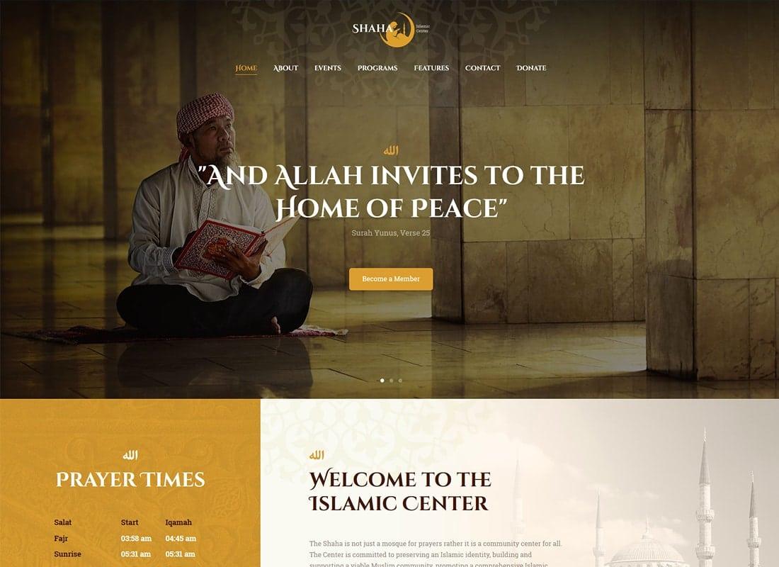 Shaha | Islamic Centre WordPress Theme + RTL Website Template