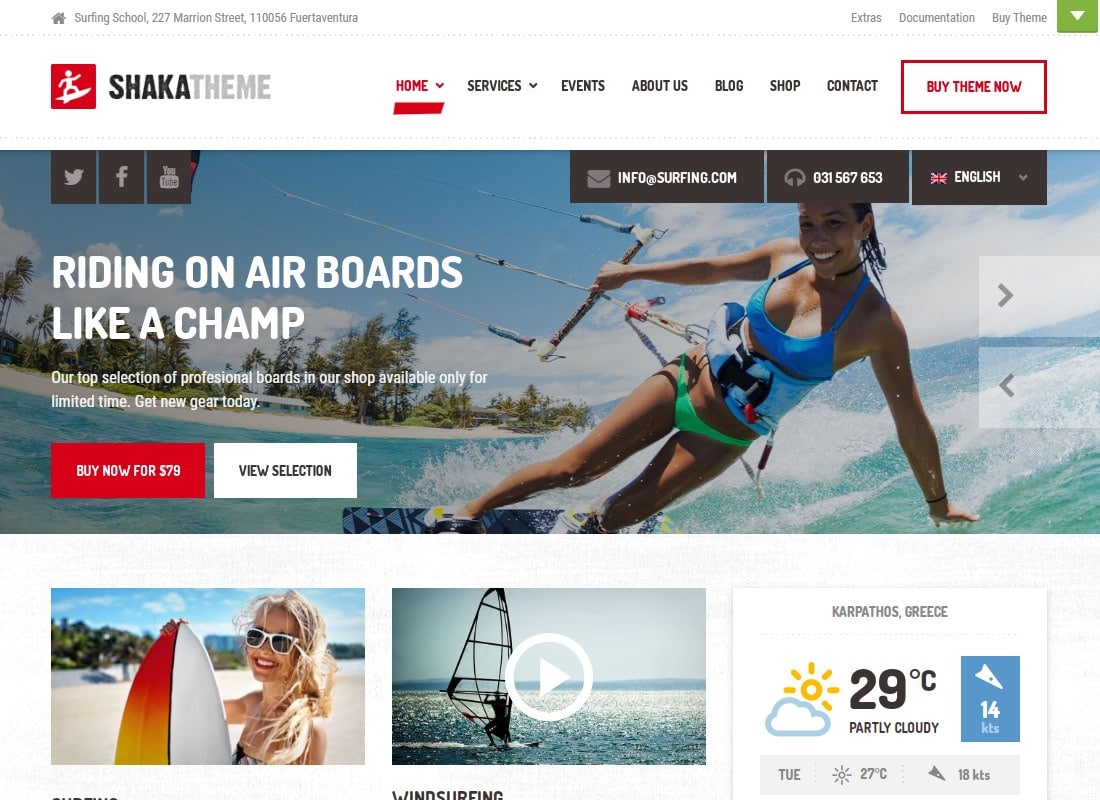 Shaka - A beach business WordPress theme for water sport and activity schools. Surf, kayak, and more. Website Template