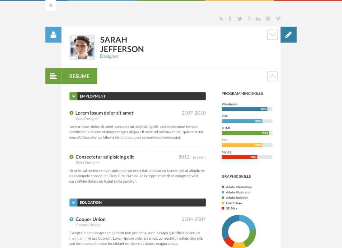 10 Most Appealing Cv Portfolio Resume WordPress Themes Templatemag